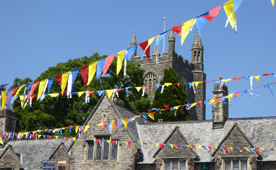 Bunting over the almshouses